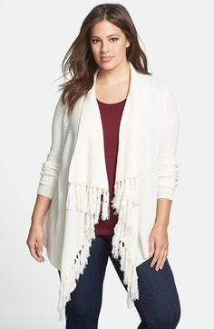 Vince Camuto Fringed Open Front Cardigan (Plus Size) available at #Nordstrom