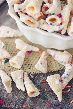 Funfetti Bugels look like speckled unicorn horns. These make a sweet snack for unicorn themed birthday party.