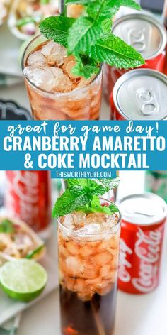 Our Cranberry Amaretto & Coke Mocktail is well-balanced with crisp sour cranberry, the velvety lushness of Amaretto, and the classic cola fizz of an ice-cold Coca-Cola®. This non-alcoholic drink is great for a game day drink or a holiday party. Coke Recipes, Easy Drink Recipes, Drinks Alcohol Recipes, Non Alcoholic Drinks, Pasta Recipes, Dessert Recipes, Recipes Dinner, Potato Recipes, Crockpot Recipes
