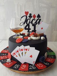 21st Birthday Cake For Guys, 22nd Birthday Cakes, 50th Birthday Party Ideas For Men, Image Birthday Cake, 40th Cake, Poker Cake, Poker Cupcakes, Cake Design For Men, Vegas Cake