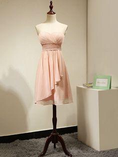 Fashionable Sweetheart Chiffon Short/Mini Ruched Pink Bridesmaid Dress…