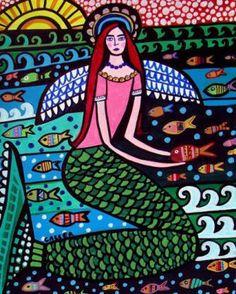 50 off Mermaid Angel Fairy art Panel Poster by HeatherGallerArt, $20.00