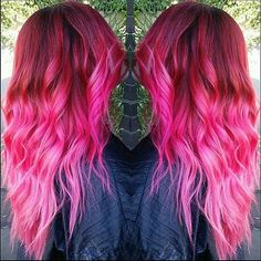 Erin (@crazzyerin) from Studio Fifty Fifty in Huntington Beach created this stunning pink ombre using a selection of Manic Panic Colors. She used Infra Red, Vampire Red, Rock n Roll Red, Fuschia Shock, Cotton Candy Pink, Hot Hot Pink and Pretty Flamingo!