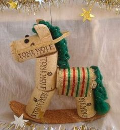 Wine Cork Rocking Horse Ornament Green Striped by TeaandSquirrels Christmas Projects, Holiday Crafts, Fun Crafts, Christmas Crafts, Crafts For Kids, Christmas Decorations, Holiday Decor, Wine Craft, Wine Cork Crafts