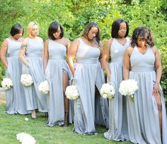 The Ladies of Praying and Slaying with their high slit pocket bridesmaid dresses and bling wristlet bouquets by… Grecian Bridesmaid Dress, African Bridesmaid Dresses, Different Bridesmaid Dresses, Always A Bridesmaid, Bridesmaid Dresses Plus Size, Bridesmaid Dress Colors, Wedding Bridesmaid Dresses, Wedding Gowns, Grey Bridesmaids