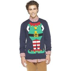 Men s Elf Suit Ugly Christmas Sweater - Navy Ugly Sweater 5147dad6c
