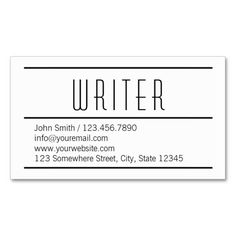 Modern Simple White Writer Business Card.