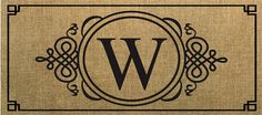 Evergreen Sassafras Switch Mat  Burlap Monogram W 431021W NEW