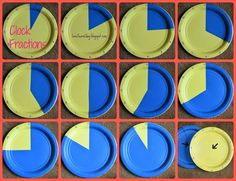 Fit together 2 paper plates to learn time or fractions. Great hands-on idea Teaching Fractions, Math Fractions, Multiplication, Teaching Math, Equivalent Fractions, Teaching Ideas, Maths, Math Measurement, Teaching Tools