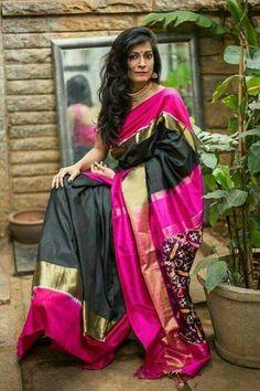 2e63891c493684 Black pochampally pure silk saree with fuchsia pink and zari borders with  ikat pallu