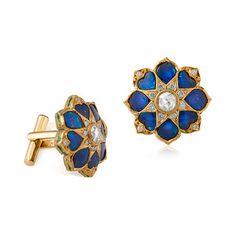 A PAIR OF SAPPHIRE AND 'POLKI' DIAMOND CUFFLINKS #neelam
