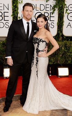 2014: Channing Tatum & Jenna Dewan were a power couple on the red carpet! Channing looks handsome in Gucci. So cute! Jenna looks amazing post baby in Roberto Cavalli! I love the black/white combination and the styling is perfect