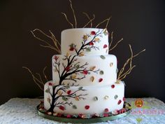 Falling Leaves and Golden Twigs | Barn Wedding Blue Mountian | Three tier painted oval wedding cake
