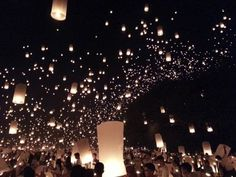 night reception - floating lanterns