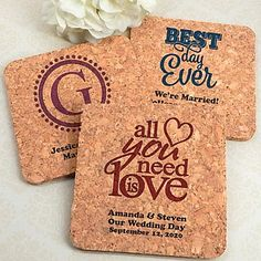 Eco-friendly cork coaster wedding favors personalized with classic wedding designs and custom text
