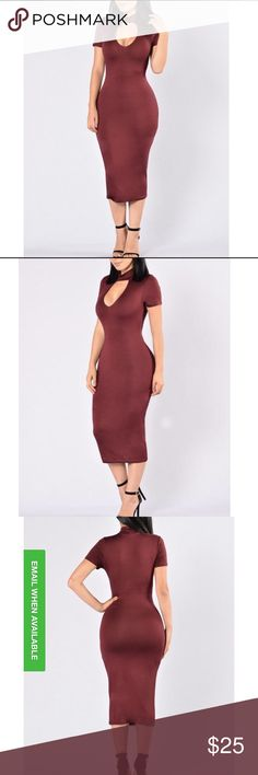 Fashion Nova Dress - Temptation Burgundy Brand New Midi Dress in Burgundy. Size M. Did not fit me and it was too late to do a return. Very sexy and perfect for a night out or event. Currently sold out online. Fashion Nova Dresses Midi