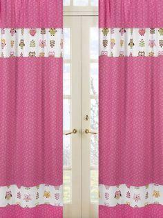 Amazon.com : Pink Happy Owl Window Treatment Panels by Sweet Jojo Designs - Set of 2 : Baby Nursery Window Treatments : Baby