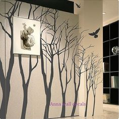 7 trees:wall decals, children wall decals,vinyl wall decal, wall stickers,nursery wall stickers,tree wall decals,tree wall art, via Etsy