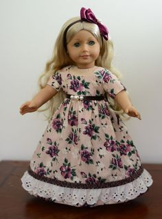 """SOLD """"Vintage Autumn"""" Dress, Outfit, Clothes for 18"""" American Girl Caroline #LuminariaDesigns"""