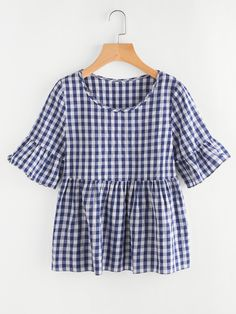 Shop Frill Trim Gingham Blouse online. SheIn offers Frill Trim Gingham Blouse & more to fit your fashionable needs.