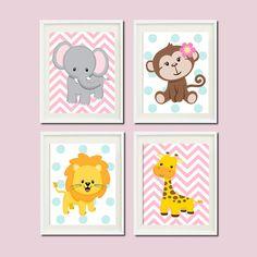 JUNGLE Nursery Wall Art ELEPHANT Monkey by LovelyFaceDesigns