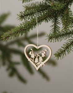 wood laser-cut swedish 'linnea flower' ornament