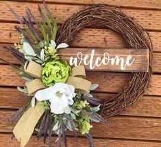 Wreaths For Front Door, Door Wreaths, Grapevine Wreath, Summer Wreath, Craft Fairs, Grape Vines, Interior Designing, Doors, Crafty