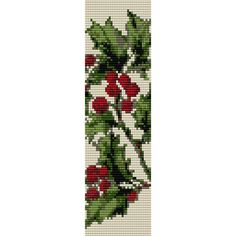Holly Pattern Loom Bead Pattern, Bracelet Pattern, Bookmark Pattern, Seed Beading Pattern Miyuki Delica Size 11 Beads - PDF Instant Download by SmartArtsSupply on Etsy