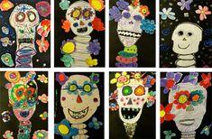 Dia de los Muertos art project- oil pastels, tempura, glitter, black and white… 3rd Grade Art Lesson, Third Grade Art, Fall Art Projects, School Art Projects, Samhain, Sugar Skull Art, Sugar Skulls, Day Of The Dead Art, Ecole Art