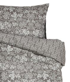 Lace Print French Vintage Duvet Cover and Pillowcases 3pc Set Queen or King Size 100% Cotton Grey White Gray (Queen)