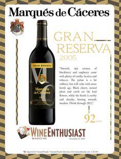 Marques de #Caceres Gran Reserva 2005 - 92 points - #Wine Enthusiast