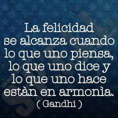 la felicidad se alcanza cuando lo que uno piensa, lo que uno dice y lo que uno hace están en armonía (Gandhi)