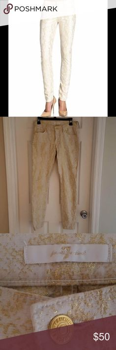 7 for all mankind skinny metallic snake jeans Super cute second skin skinny gold metallic snake print jeans NWOT 7 For All Mankind Jeans