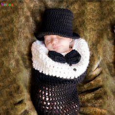 安い赤ちゃん の写真撮影の小道具男の子弓ネクタイ用幼児男の子ニット赤ちゃん ラップ新生児0 3月男の子服黒手作り かぎ針編み、購入品質帽子& キャップ、直接中国のサプライヤーから:Duck Hat Baby Crochet Patterns Baby Clothes 0 3 Months New Born Photography Prop Cartoon Animal Funny Cute Kawaii  USD 1