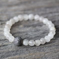 Diamond Rutilated Quartz Stacking Bracelet Beadwork / Oxidized Sterling Silver April Birthstone Natural Gemstone / Cream Milk Cloud White / Romantic