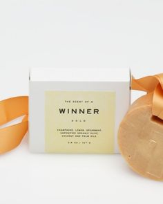 Scent of a Winner Soap, comprised of champagne, lemon, spearmint, saponified organic olive, coconut and palm oils.