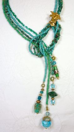 Turquoise Bead Lariat Necklace Nymph Brass by ThePamperedGoddess, $44.00