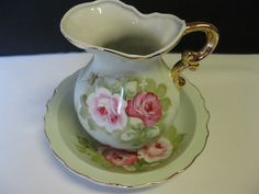 Lefton China Heritage Green with Gold Trim, Roses Pitcher and Bowl Japan #teamsellit