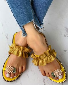Shop Pineapple Pattern Toe Ring Frill Hem Casual Sandals right now, get great deals at joyshoetique Toe Ring Sandals, Cute Sandals, Toe Rings, Flat Sandals, Summer Sandals, Shoes Sandals, Boho Sandals, Flat Shoes, Casual Rings