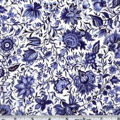 45 Wide China Blue Persian Flower Ivory Fabric By The