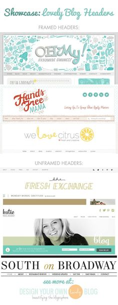 Beautiful blog headers that are framed or unframed. See more at DesignYourOwnBlog.com
