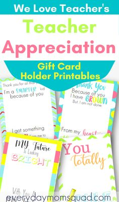 Show the teacher in your life how much you appreciate them with these Teacher Appreciation Gift Card Holds printables. Gift card holders you kids can give to their teacher #teacherappreciationday #teachers #weloveteachers #giftsforteachers Educational Activities For Kids, Fun Learning, Preschool Activities, Who Is A Teacher, Get Gift Cards, Personalized Teacher Gifts, Happy Parents, Kids Behavior, Teacher Appreciation Week