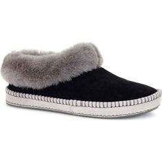 UGG Australia Women's Wrin Black Slippers ($100) ❤ liked on Polyvore featuring shoes, slippers, black, kohl shoes, black shoes, ugg australia, ugg® australia shoes and water resistant shoes