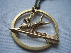 the hunger games mockingjay pin necklace on sale by 1luckysoul, $18.99