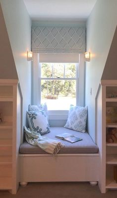 Girl's Bedroom with window seat nook – Southern Living Showcase Home - Decoration, Room Decoration, Decoration Appartement, Home Decor, Bedroom Decor Dormer Bedroom, Bedroom Nook, Bedroom Wall Colors, Bedroom Windows, Bedroom Layouts, Home Decor Bedroom, Bedroom Seating, Bedroom Ideas, Window Seats Bedroom