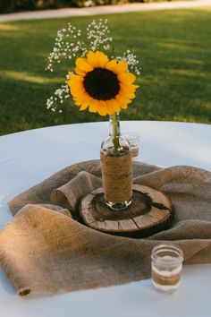 A Rustic, Intimate Outdoor Ceremony + Reception by From Britt's Eye View rustic sunflower wedding centerpieces - rustic intimate oklahoma wedding at Darlington Chapel. Rustic Sunflower Centerpieces, Rustic Wedding Centerpieces, Wedding Reception Decorations, Wedding Receptions, Sunflower Party, Sunflower Weddings, Bottle Centerpieces, Oklahoma Wedding, Bridal Shower Rustic