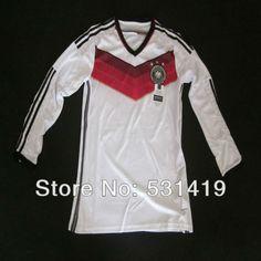 Germany 2014 World Cup Long Sleeve Jersey Germany Away Jersey Best Thai Quality Ozil Rues Gotze Schweinsteiger Soccer Jersey $29.89 - 30.89