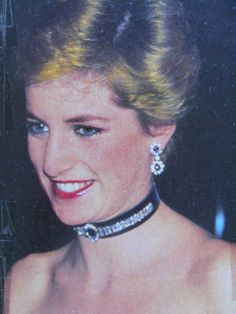 """October 9, 1986: Princess Diana at the Premiere of Andrew Lloyd Webber's """"Phantom of the Opera"""" at Her Majesty's Theatre in London."""