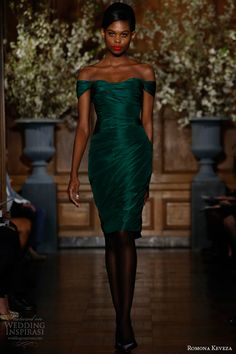romona keveza fall 2013 rtw emerald draped cocktail dress silk taffeta draped shoulder detailing subtle sweetheart neckline e1363