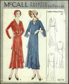 1930s Ladies Dress With Flounce Sewing Pattern - McCall #6679